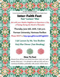 Inter-Faith Fast @ Hartness Pavilion at Furman University | North Myrtle Beach | South Carolina | United States