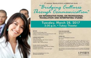Bridging Cultures Through Communication: 3rd Annual Translation & Interpreting Panel @ Tukey Theatre, USC Upstate | Spartanburg | South Carolina | United States