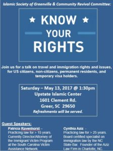 Know Your Rights: A Seminar on Travel and Immigration Rights and Issues @ Upstate Islamic Center | Greer | South Carolina | United States