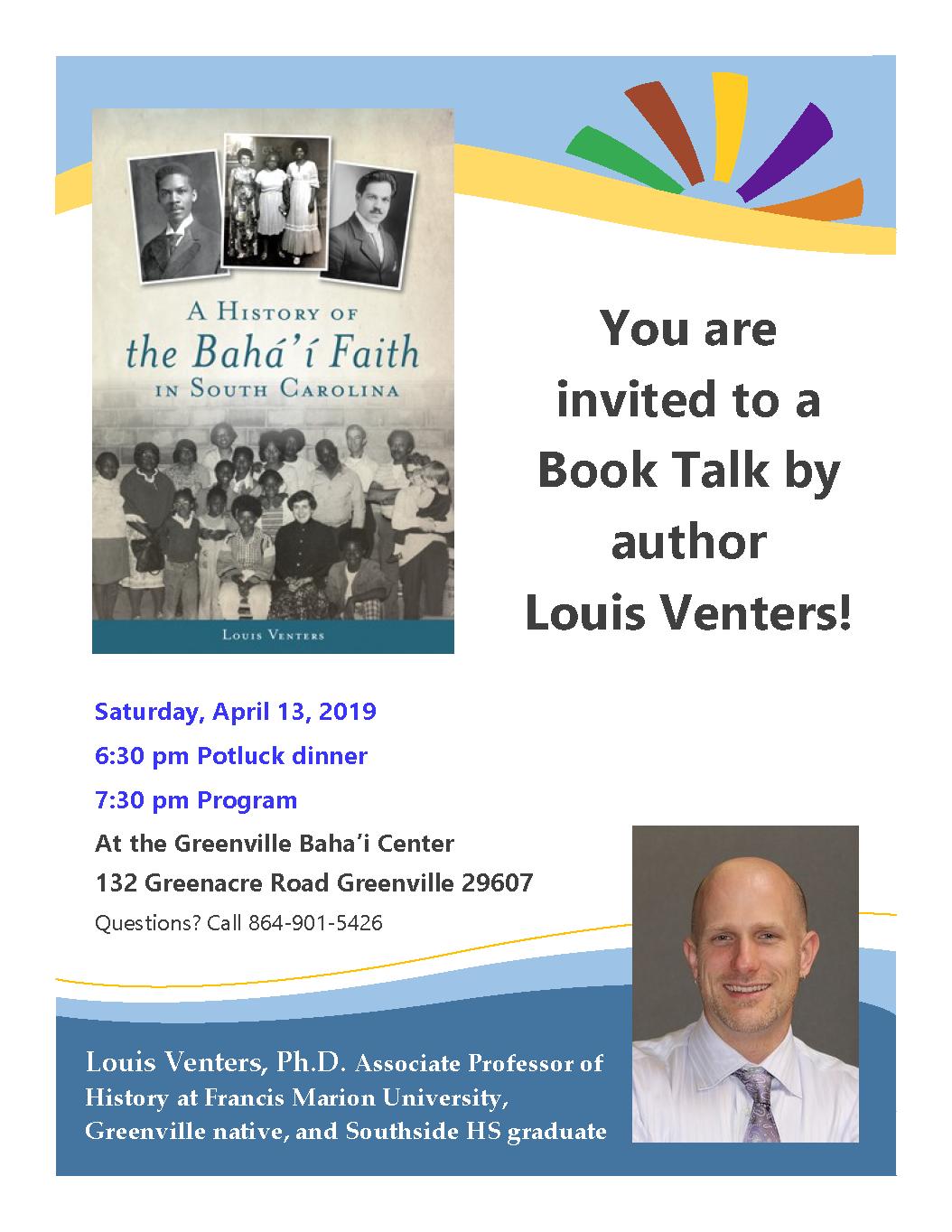 """""""A History of the Baha'i Faith in SC"""" Author Talkand Potluck Dinner @ Greenville Baha'i Center"""