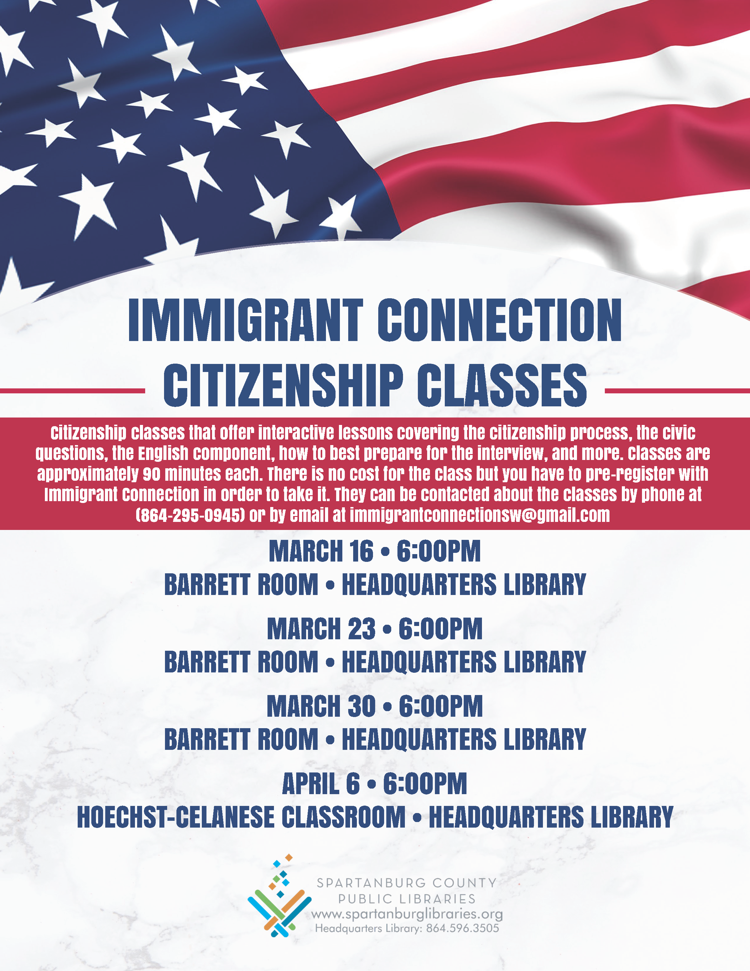 Immigrant Connection Citizenship Classes @ Spartanburg County Public Libraries