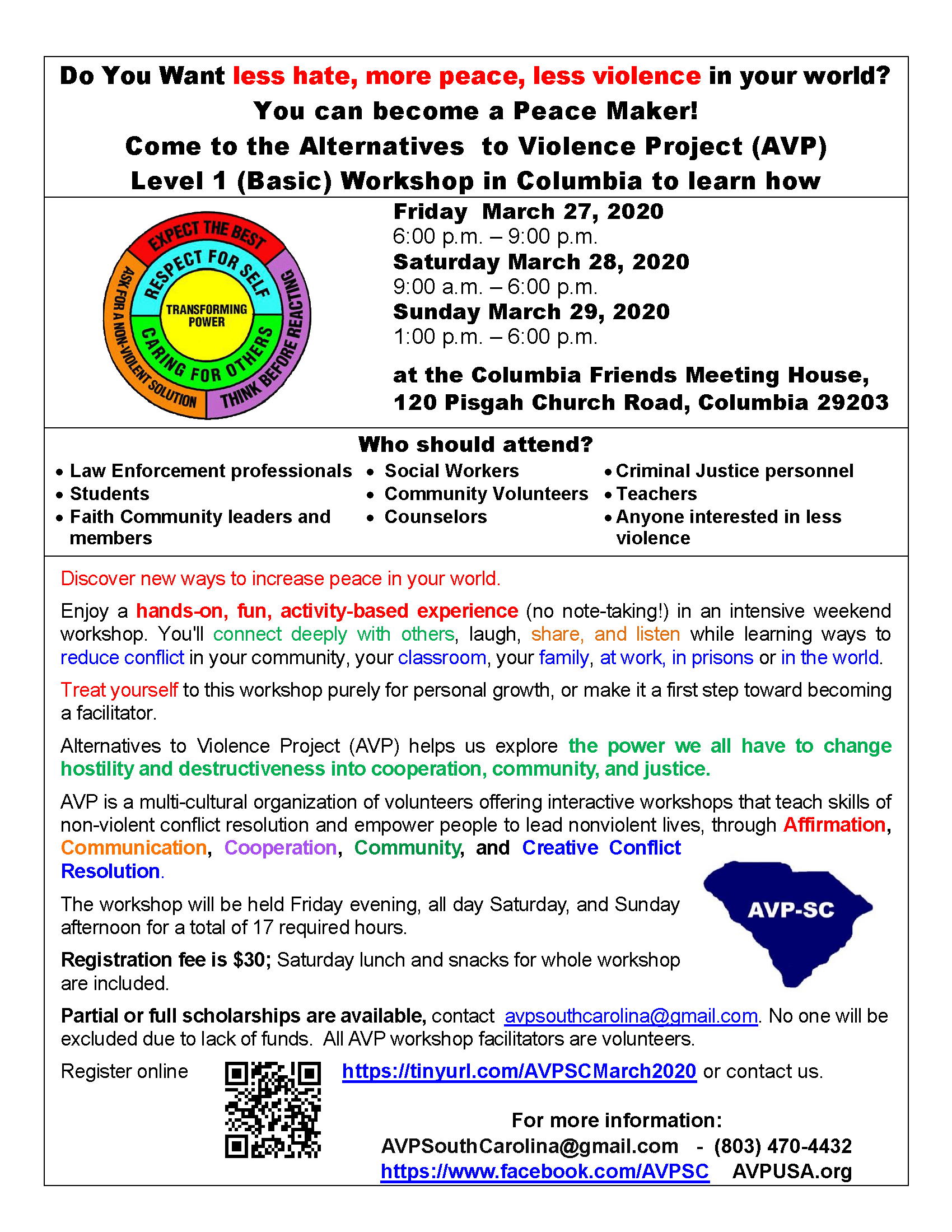 Alternatives to Violence Project: Register early for this 3 Day Workshop - Columbia, SC @ Columbia Friends Meeting House